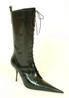 black leather calf-length lace-up boot