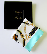 Stilettos by RoSa green silk scarf