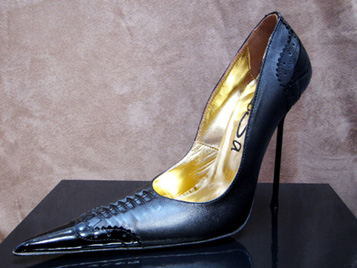 High Heel Pointed Stiletto with Brogue Detail