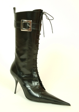 RoSa Shoes black leather mid-length laced stiletto boots. Removable buckle strap. Leather lining and leather sole.