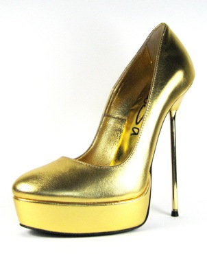 Stiletto platform round-toe court shoe with gold leather upper, leather lining and leather sole, made in Italy exclusively for RoSa Shoes.