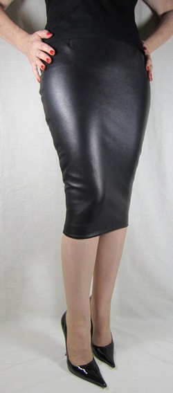 Hobble Skirt Knee Length - Leather - Stiletto High Heels by RoSa Shoes