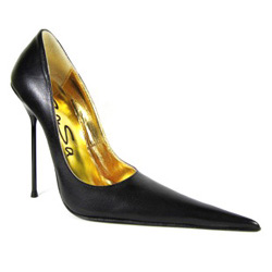 Ultra-high stiletto court shoe with extreme winklepicker pointed toe. Black leather upper, leather sole, full gold leather lining. Made in Italy exclusively for RoSa Shoes