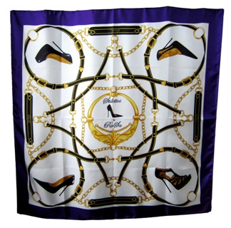 Purple silk scarf with stiletto shoes design by RoSa Shoes