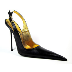 Ultra-high stiletto slingback shoe with extreme winklepicker pointed toe. Black leather upper, leather sole, full gold leather lining. Made in Italy exclusively for RoSa Shoes