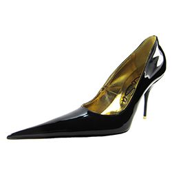 Medium high stiletto court shoe with extreme winklepicker pointed toe. Black patent leather upper, leather sole, full gold leather lining. Made in Italy exclusively for RoSa Shoes
