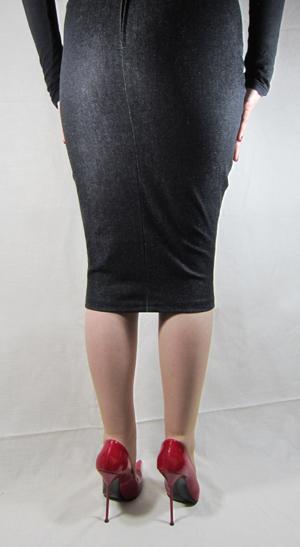 hobble skirt knee length denim high heels by rosa shoes