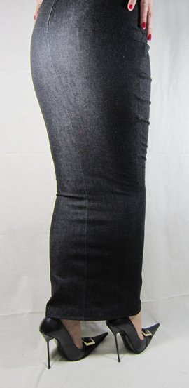 hobble skirt ankle length denim high heels by rosa shoes
