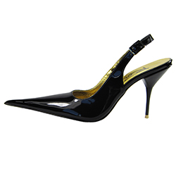 Medium high stiletto slingback shoe with extreme winklepicker pointed toe. Black patent leather upper, leather sole, full gold leather lining. Made in Italy exclusively for RoSa Shoes