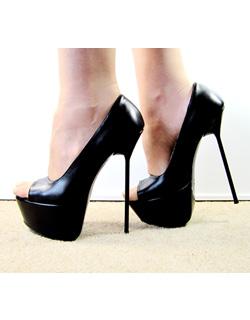 e2450bb913 High Heel Stiletto Platform Open Toe Black Leather - Stiletto High ...