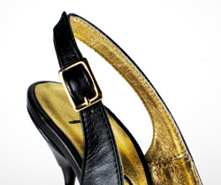 Ultra-high stiletto slingback with semi-pointed toe. Black leather upper, gold buckle, leather sole, full gold leather lining. Made in Italy exclusively for RoSa Shoes