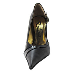 Medium high stiletto court shoe with extreme winklepicker pointed toe. Black leather upper, leather sole, full gold leather lining. Made in Italy exclusively for RoSa Shoes