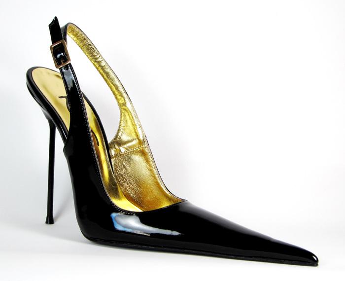 High Heel Pointed Slingback Black