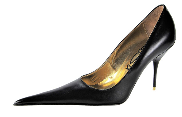 33d96cbacf9 Medium high stiletto court shoe with extreme winklepicker pointed toe.  Black leather upper