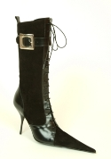 RoSa Shoes stiletto-heeled lace up mid-length leather boot. Removable buckle strap. Leather lining and sole.