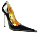 Ultra-high stiletto court shoe with extreme winklepicker pointed toe. Black patent leather upper, leather sole, full gold leather lining. Made in Italy exclusively for RoSa Shoes