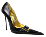 Ultra-high stiletto court shoe with extreme winklepicker pointed toe and gold buckle on ruched strap. Black leather upper, leather sole, full gold leather lining. Made in Italy exclusively for RoSa Shoes